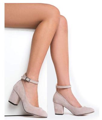 Ankle Strap Pump Heel -Comfortable Round Toe Dress Black Shoe